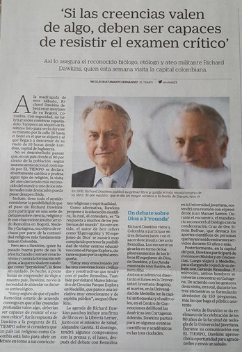 visita dr richard dawkins colombia